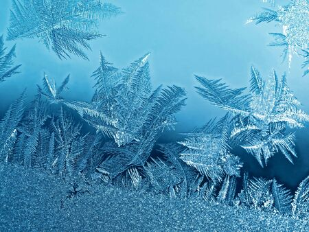 Frost icy flowers on a glass Stock Photo - 2497819