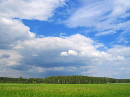 Landscape - fields, forest, the blue sky and clouds photo