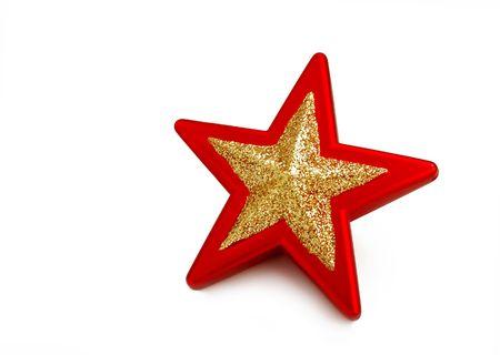estrellas cinco puntas: El rojo y el dorado estrellas aisladas en blanco