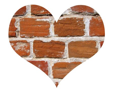 brick wall In love shape isolated on white background photo