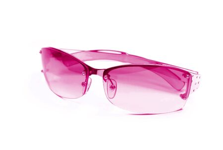 pink sunglasses isolated on white photo