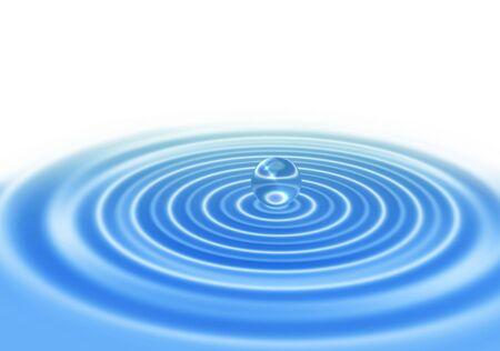 abstract water drop on blue ripple water surface