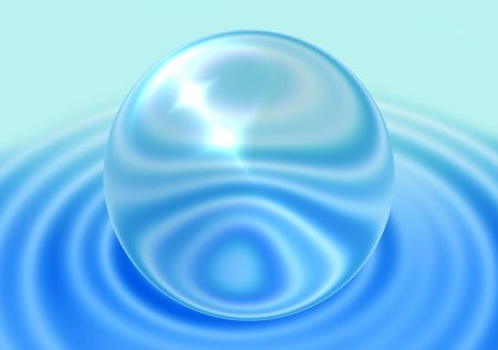 transparent sphere on blue ripple background photo