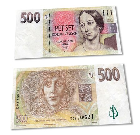 korun: Czech crones money banknotes over white Stock Photo