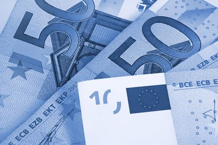 euromoney: fragment of fifty and ten euro money, blue abstract background