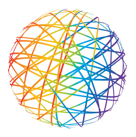 abstract sphere from color lines on white background Stock Vector - 8288466
