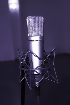microphone in studio of sound recording photo