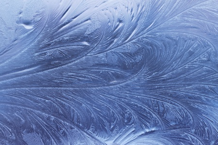 frosted glass: ice pattern on winter glass Stock Photo