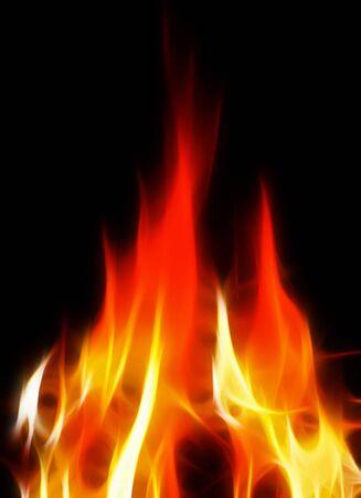 resplandor: fuego brillante sobre fondo negro