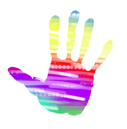 multicolor abstract handprint on white photo