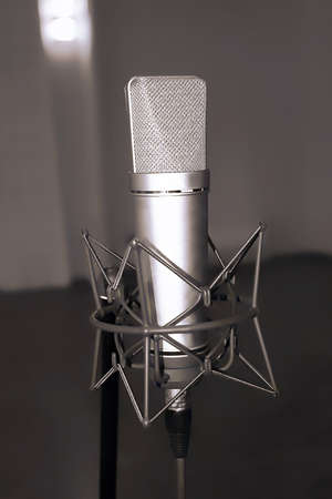 micro recording: microphone in studio of sound recording