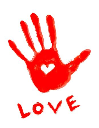 drawing handprint with love symbol and Love word  photo