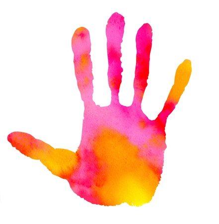 watercolor abstract handprint on white background photo