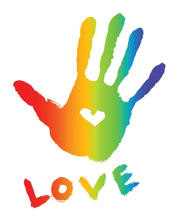 bright colorful handprint with love symbol and love word
