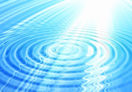 ripple effect: blue abstract water background with rays of light Stock Photo