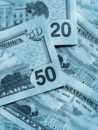blue abstract money background from new dollars usa photo