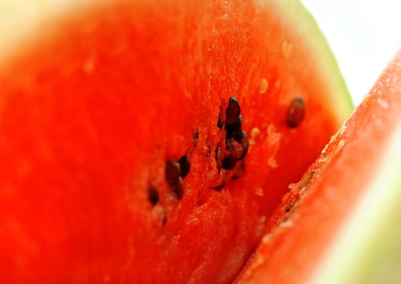 macro of ripe fresh red watermelon photo