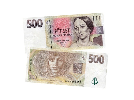 czech money banknotes over white background Stock Photo - 12519384