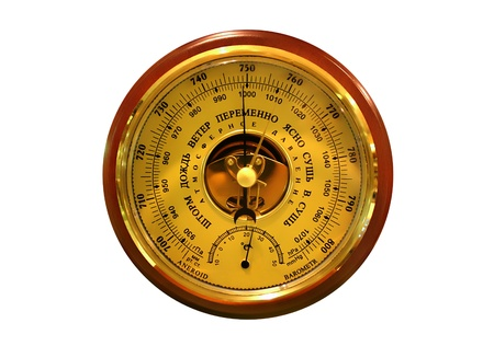 atmospheric pressure: barometer on the white background Stock Photo