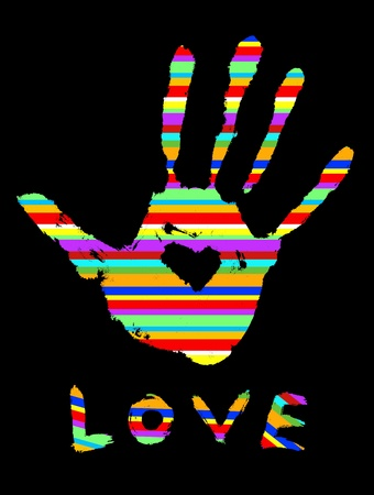 handprint with heart and Love