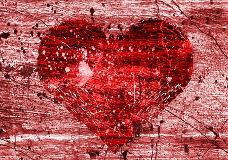 grunge background with abstract love symbol Stock Photo