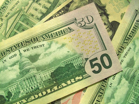 us currency: money background from new dollars usa