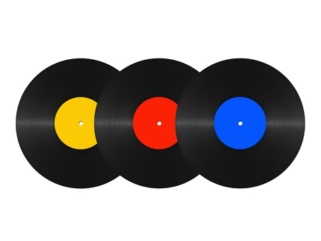 long play: set of abstract vinyl discs on a white background Stock Photo