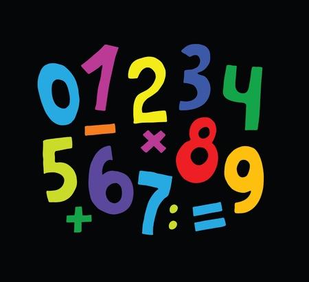 set of color numbers on black background Vector