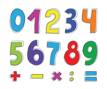 vector set of color numbers on white Vector