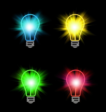 the lumen: different color bulbs on black Stock Photo