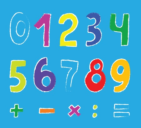 set of color numbers on blue Vector