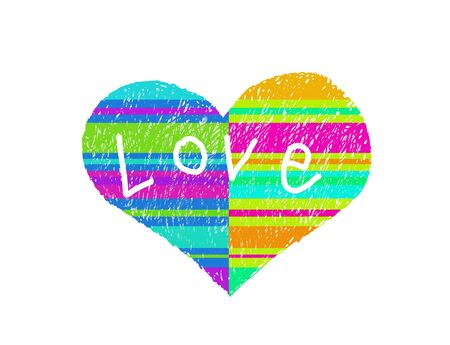 Abstract multicolored striped love symbol and word Love on white photo