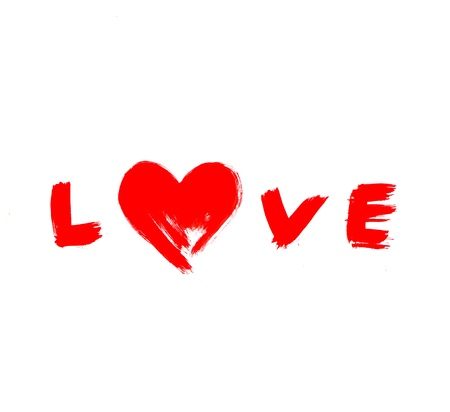 word Love with abstract heart photo