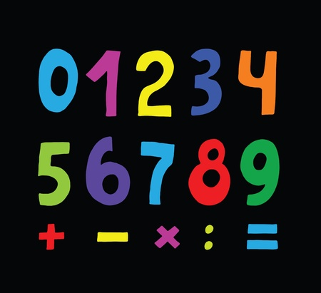 set of color numbers on black background Stock Vector - 13507009