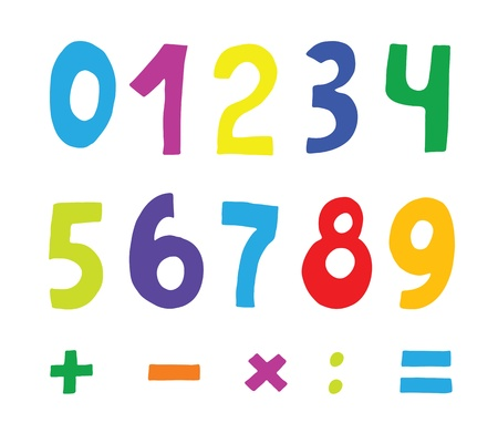 set of color numbers on white Vector