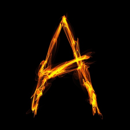 Digital fiery letter A on a black background photo
