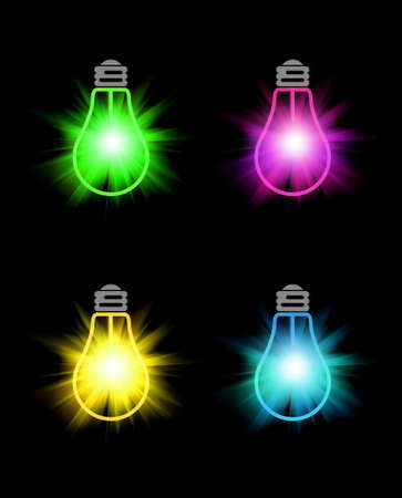 Set of bright color bulbs on black background photo