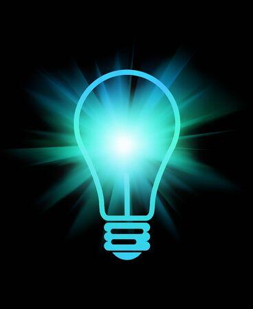 abstract light bulb with beams on black                       Standard-Bild