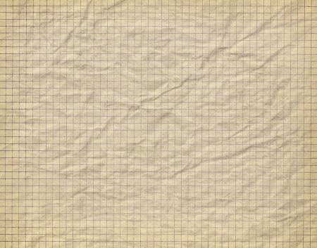 Old crumpled checkered paper background