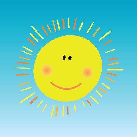 Abstract smiling sun on blue sky Vector