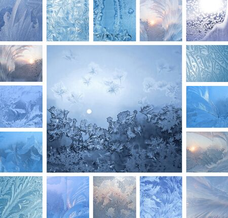 Collage of ice patterns on winter glass photo
