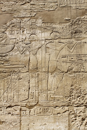 Ancient egypt images and hieroglyphics carved on the stone in the Karnak Temple, Luxor Stock Photo - 16258696