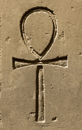 ankh: Ancient egypt symbol Ankh Key of Life, Eternal Life,Egyptian Cross carved on the stone in the Karnak Temple, Luxor Stock Photo