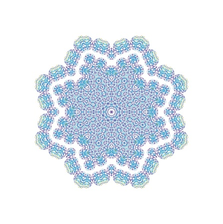 kaleidoscopic: Background with abstract blue pattern shape on white