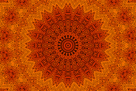 Abstract orange background with radial dotted pattern  Stock Photo