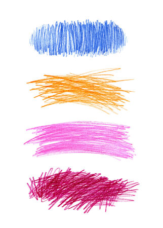 Series of abstract color hand drawn design elements photo