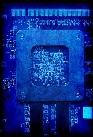 fondo vintage azul: Fondo azul de la vendimia con la tarjeta de circuitos electr�nicos