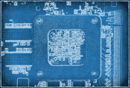 electronic background: Abstract blue electronic background with circuit board