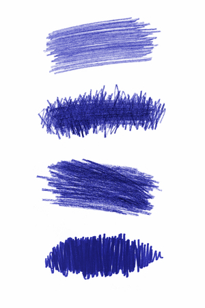 Series of blue pencil strokes on white background photo