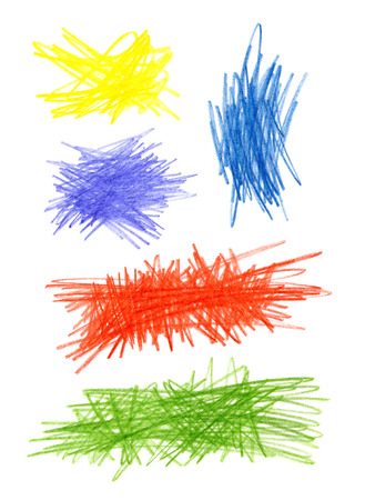 Series of abstract bright color hand drawn design elements photo